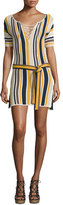 Frame Lace-Up Belted Sweaterdress, Multi Stripe