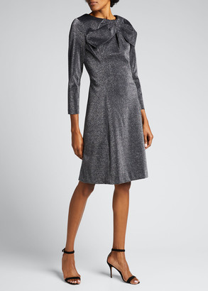 Rickie Freeman For Teri Jon Asymmetric Bow-Neck Stretch Metallic Knit Dress
