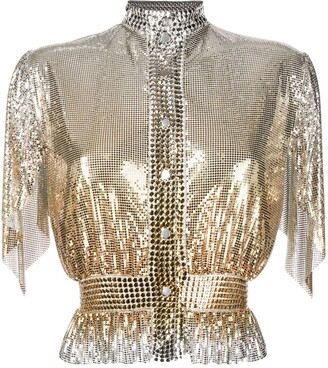 Paco Rabanne Draped Sleeves Chain-Link Blouse
