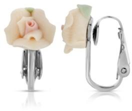 2028 Silver Tone Peach Porcelain Rose Clip Earrings
