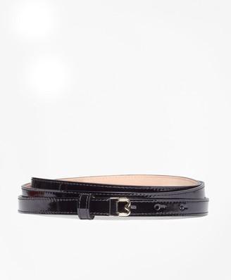 "Brooks Brothers Skinny Patent Leather ""B"" Buckle Belt"