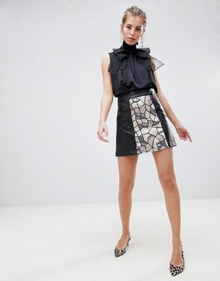 Traffic People Sequin Panelled Mini Skirt-Black