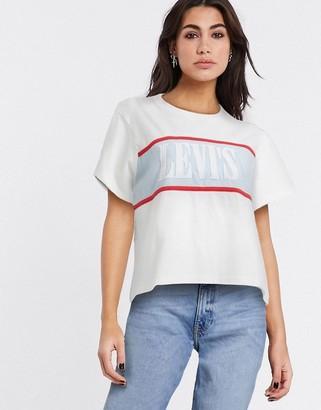 Levi's serif logo color block t shirt in white