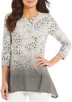 Ruby Rd. Petites Embellished Scoop Neck Pointelle Textured Border Print Knit Top