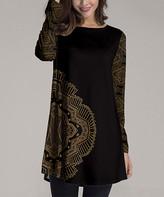 Nanu Women's Tunics Black - Black & Gold Geometric Filigree Long-Sleeve Tunic - Women & Plus