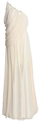 Halston One-shoulder Draped Crepe De Chine Gown