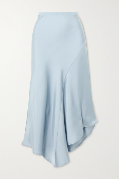 Anine Bing Bailey Asymmetric Silk-satin Midi Skirt