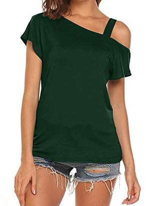 Cyanstyle Women's Summer V Neck Short Sleeve Henley Pleated Casual Blouse Tops L