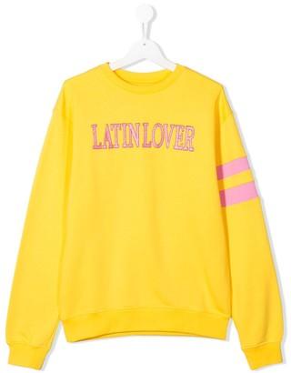 Alberta Ferretti Kids TEEN slogan embroidered sweatshirt