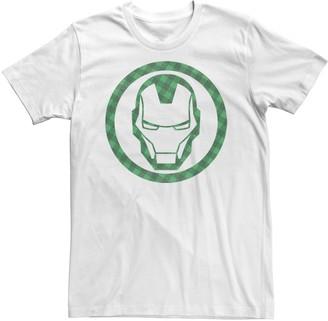 Marvel Men's St. Patrick's Day Iron Man Plaid Logo Tee