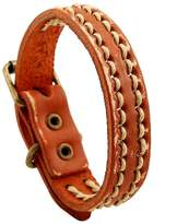 Unisex Simple Style Buckle Bracelet Punk Cowboy Genuine Leather Clasp Wristband Bangle By LEO BON
