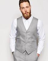 Asos Slim Fit Waistcoat In 100% Linen