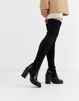 Asos Design DESIGN Karina chunky thigh high boots in black knit