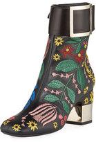 Roger Vivier Podium Flower Embroidered Bootie