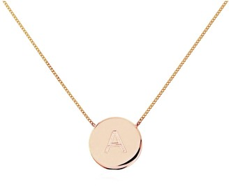 Auree Jewellery Westbourne 9Ct Rose Gold Initial Disc Necklace