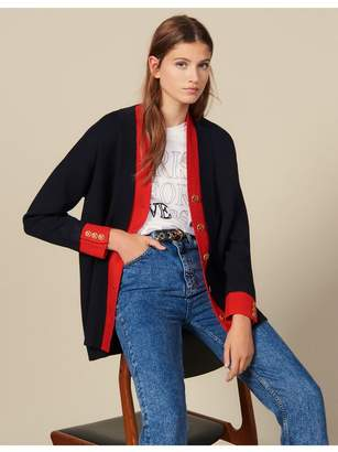 Sandro Two-Tone Cardigan With Layered Effect