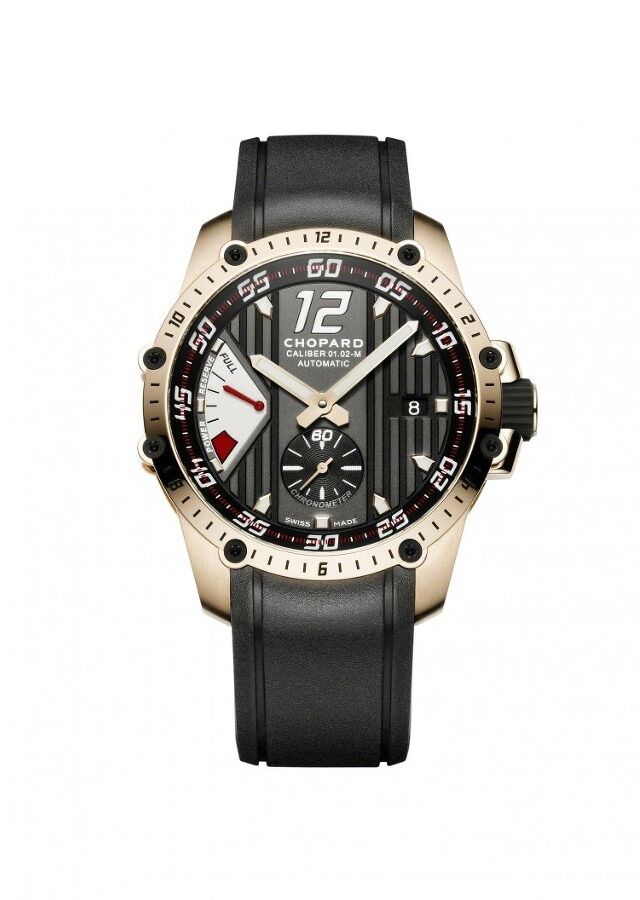 Chopard Superfast Power Control Black Dial 18kt Rose Gold Black Rubber Men's Watch