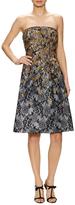 Oscar de la Renta Floral Embroidered Strapless Flared Dress