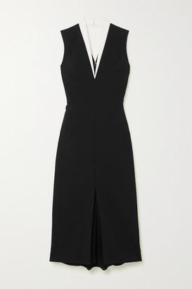 Victoria Beckham Cutout Two-tone Crepe Dress - Black