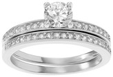 Journee Collection 3/4 CT. T.W. Round-cut Cubic Zirconia Thin Bridal Prong Set Ring Set in Sterling Silver - Silver
