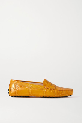 Tod's Gommino Croc-effect Leather Loafers - Mustard