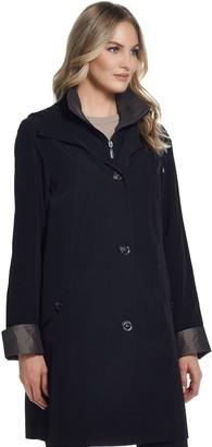 Gallery Women's Contrast-Trim Hood Rain Jacket