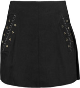 Ellery Helena eyelet-embellished cotton-twill mini skirt