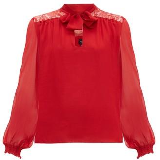 Giambattista Valli Lace-panel Pussybow Silk Blouse - Red