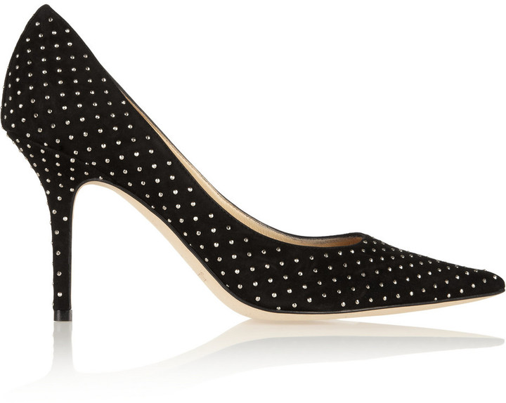 Jimmy Choo Agnes Studded Suede Pumps