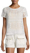 Joie Sevan Geometric-Lace Top, Antique White