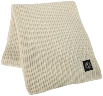 Stone Island Wool Knit Ribbed Scarf Burro Beige