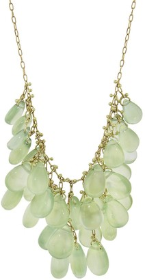 Ten Thousand Things One-Of-A-Kind Prehnite Waterfall Cluster Yellow Gold Necklace