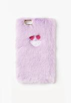 Missguided Purple Heart Face Faux Fur iPhone 6 Case