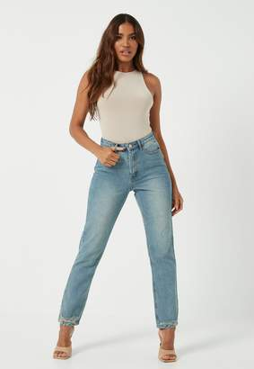 Missguided Blue Co Ord Wrath Highwaisted Straight Jeans