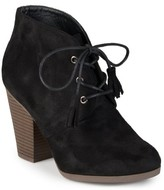 Brinley Co. Women's Chunky Heel Lace-Up Faux Suede Ankle Booties