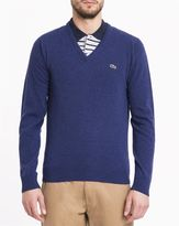 Lacoste Royal Blue Crocodile Logo New Wool V-Neck Sweater