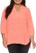 Boutique + + 3/4 Sleeve Woven Blouse-Plus