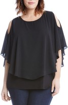 Karen Kane Plus Size Women's Layered Cold Shoulder Top