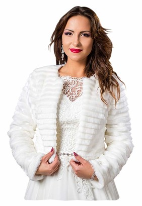 Deine Brautmode deine-Brautmode Bridal Jacket Bolero Wedding Bridal Wedding Jacket Bolero Jacket Long Sleeve Fur Faux Fur - White - UK 12