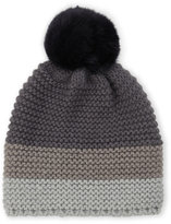 Surell Knit Real Rabbit Fur Pom-Pom Beanie