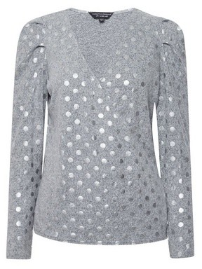Dorothy Perkins Womens Grey Foil Spot Brushed Wrap Jumper, Grey