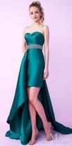 Mac Duggal Strapless Sweetheart Asymmetrical Overskirt Evening Dress