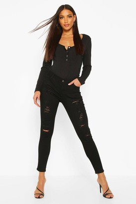 boohoo Low Rise Heavy Ripped Skinny Jeans
