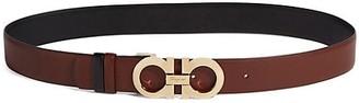 Salvatore Ferragamo Ceylon Gancini Buckle Two-Tone Leather Belt
