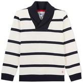 Petit Bateau Boys striped sweatshirt with shawl neck