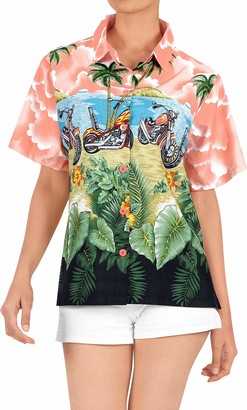 LA LEELA Women's Hawaiian Blouse Top Collar Short Sleeve Button Down V Neck Casual Work Yoga Shirt Summer Holiday M-UK Size:18-20 Blood Red_W975