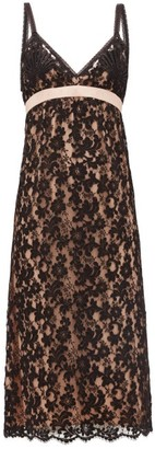 Gucci Embroidered Floral-lace Slip Dress - Black