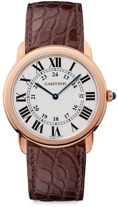 Cartier Ronde de Solo 18K Rose Gold & Brown Alligator-Strap Watch with Date Window