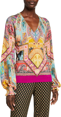 Etro Stained Glass V-Neck Flounce-Cuff Top