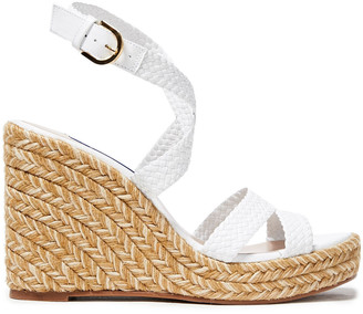 Stuart Weitzman Color-block Woven Leather Espadrille Wedge Sandals